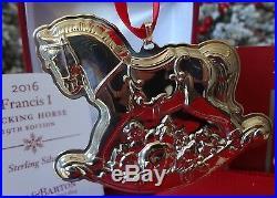2016 Nib Reed & Barton 19th Sterling Francis I Rocking Horse Annual Ornament