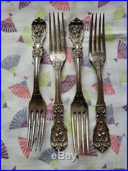 4 Reed & Barton FRANCIS I Sterling Silver 7 1/4 Dinner Forks Old Mark No Mono's