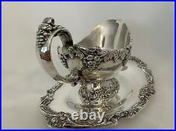 REED & BARTON King Francis Silver Plate Hotel Plate Sauce Gravy Boat &Underplate