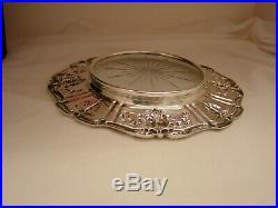 Reed And Barton Francis I Sterling Silver & Glass Lemon Dish/ Wine Coaster