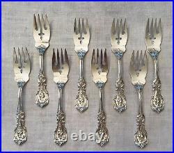 Reed & Barton 8 Francis I Sterling Silver Salad Forks Monogram Ef Old Mark