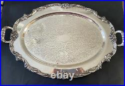 Reed & Barton KING FRANCIS #1665 Silverplate 25 x 16-3/4 Handled Serving TRAY