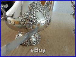 Reed & Barton KING FRANCIS Silverplate Coffee/Tea Pot Set +Water Pitcher 6 pc