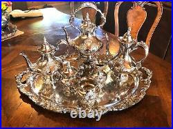 Reed & Barton King Francis 7 Piece Tea Set All Pieces Signed Matching Tray