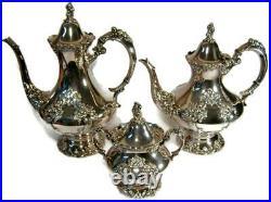 Vintage Reed Barton Rococo Revival King Francis Silver Plate Teaset