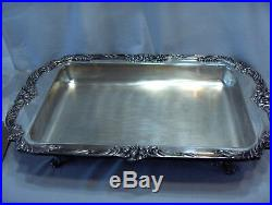 Vntge Reed & Barton King Francis Buffet Server Silver Plate 4 Feet Lid 1668 NICE